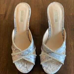 Silver&Gray Rhinestone Wedge Sandals by GUESS
